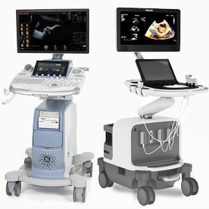 console cart based ultrasound machine gray back