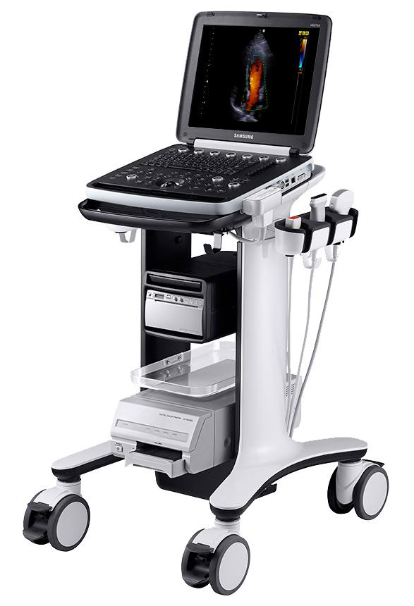 Samsung HM70A Ultrasound Machine Scanner System trolley cart wheeled stand UDS fully loaded recorder DVR burner printer everything included all options
